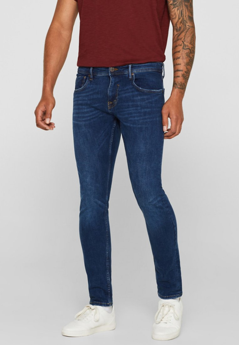 Esprit - MIT USED-WASCHUNG - Jeans Skinny Fit - blue medium washed