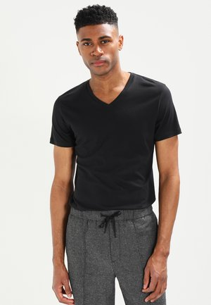 V-NECK - T-shirt - bas - black