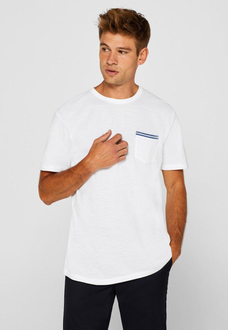 Esprit White BrusttascheT Mit shirt Basique wnXP08Ok