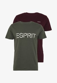 Esprit - ICON 2 PACK - T-shirt con stampa - khaki - 4