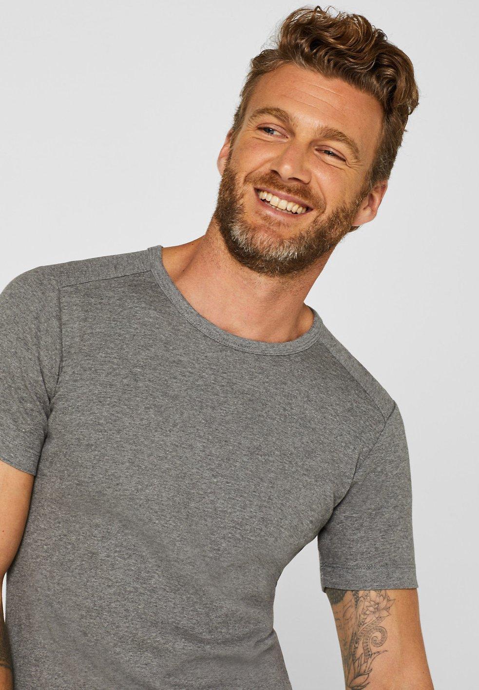 Esprit Basic-shirt Aus Jersey, Mit Organic Cotton - T-shirts Basic Medium Grey