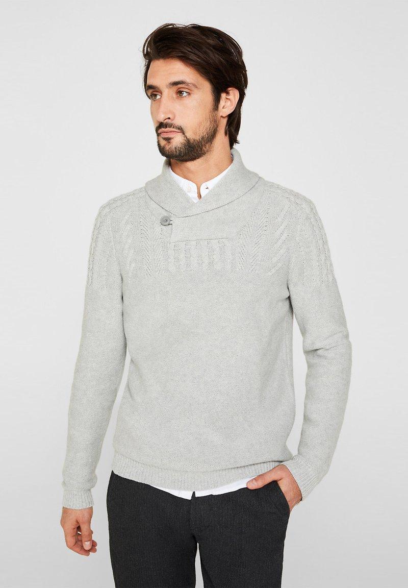 Esprit - MIT ZOPF-MUSTER - Strickpullover - light grey