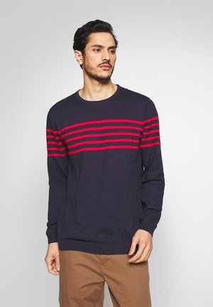 STRIPE CREW - Pullover - navy