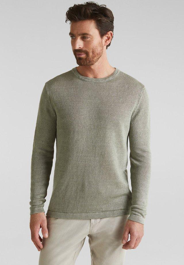 100% LEINEN: PULLOVER AUS STRICK - Stickad tröja - light khaki