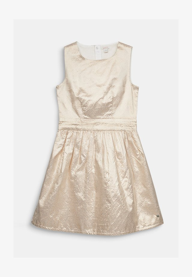 GOLDENES JACQUARD-KLEID IN A-LINIE - Korte jurk - light gold