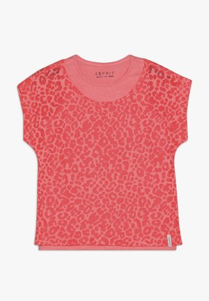 T-shirt con stampa - neon coral