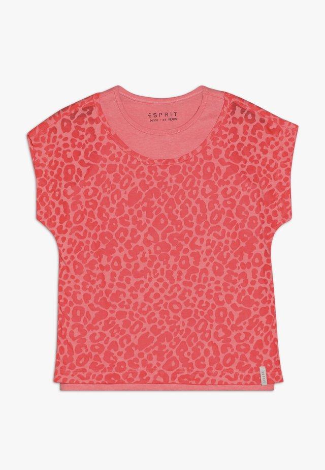 Camiseta estampada - neon coral