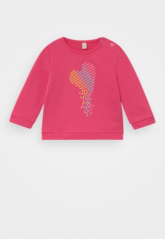 Sweatshirt mit Herz-Print, 100% Baumwolle - Felpa - candy pink