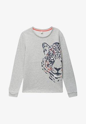 HOODED SWEATSHIRT WITH LEOPARD PRINT - Sweatshirt - heather silver