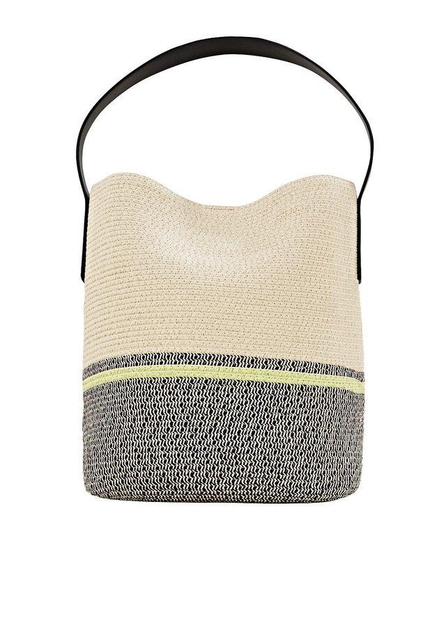 FLECHT-SHOPPER MIT KONTRASTSTREIFEN - Shopping Bag - cream beige