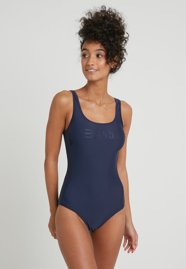 Esprit - OCEAN BEACH LOGO SWIMSUIT WITH WIRE - Badeanzug - navy