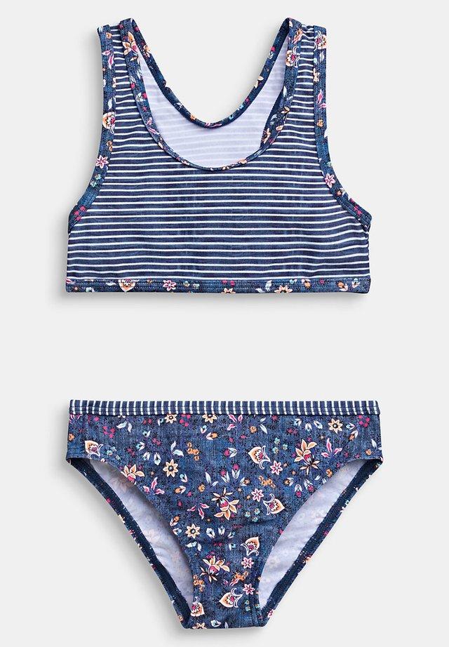 BUSTIER-BIKINI MIT STREIFEN UND BLUMEN - Bikinibroekje - grey blue