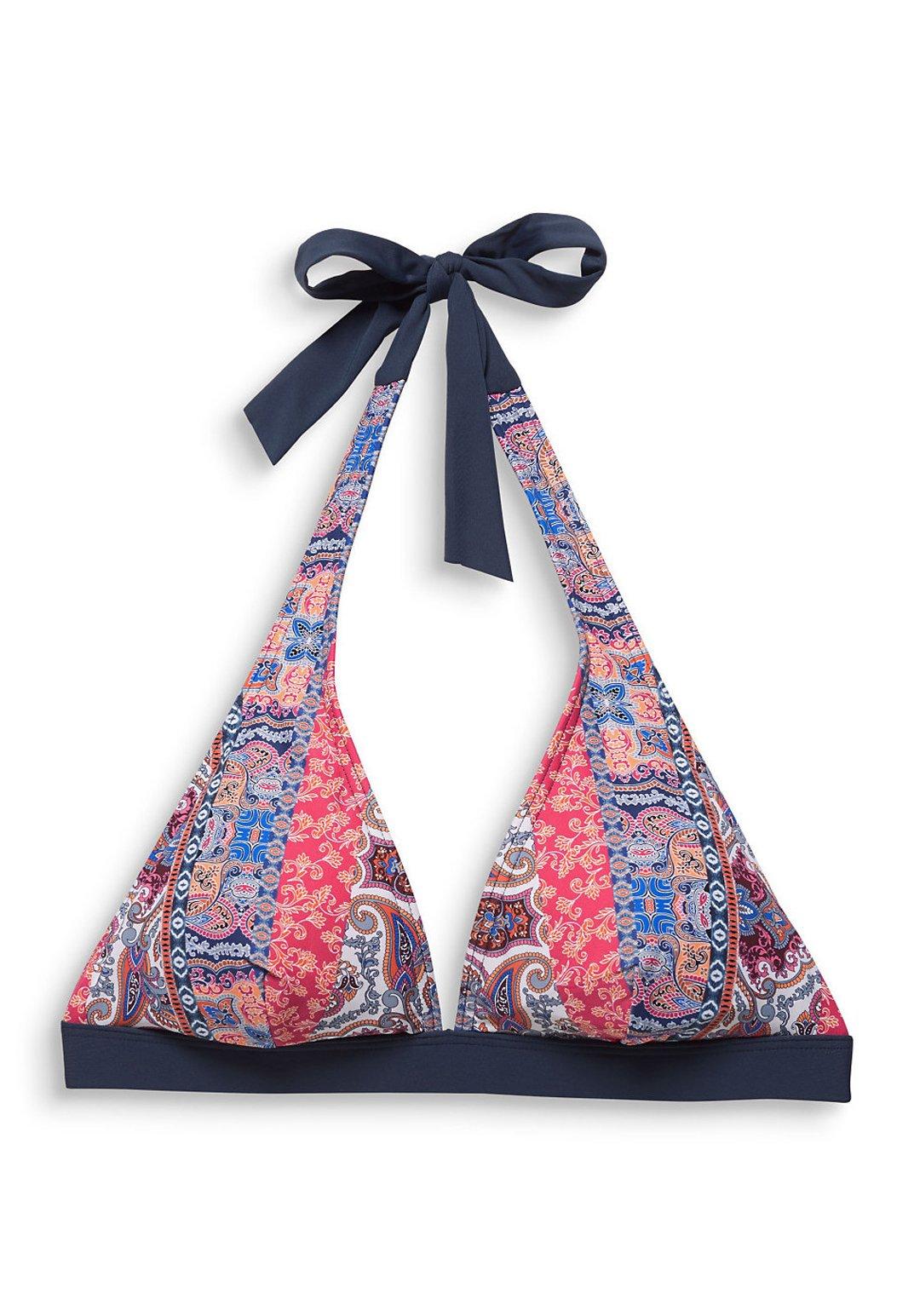 Esprit Wattiertes Neckholder-top Mit Paisley-print - Bikiniöverdel Grey Blue