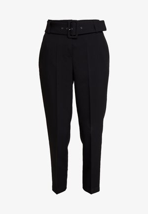 BELTED CHECK - Trousers - black