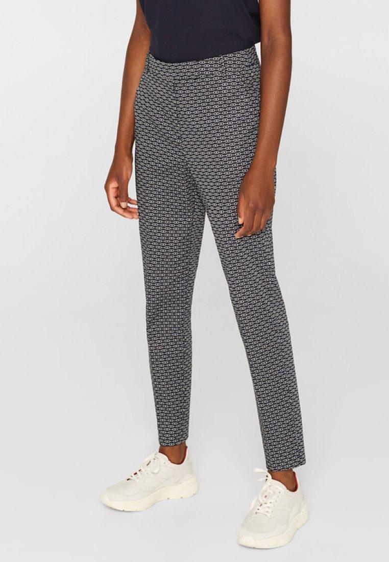 Esprit Collection - MIT STEIGBÜGEL-PRINT - Pantalon classique - navy
