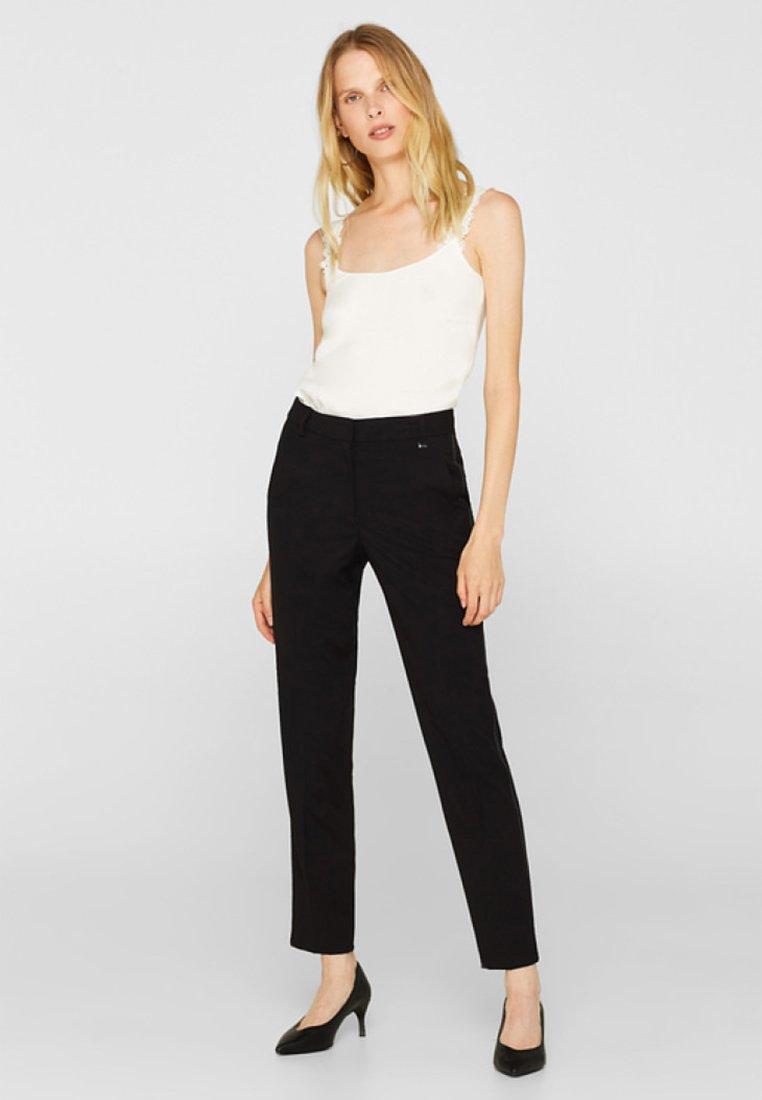 Esprit Collection - MIT GALONSTREIFEN - Trousers - black