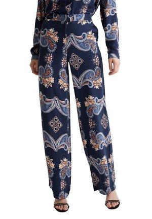 PALAZZO MIT PRINT - Pantalon classique - navy