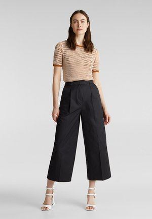 HIGH RISE CULOTTE - Bukser - black