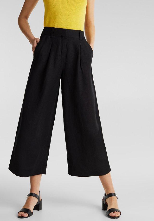 AUS LEINEN-MIX: CULOTTE MIT BUNDFALTEN - Trousers - black