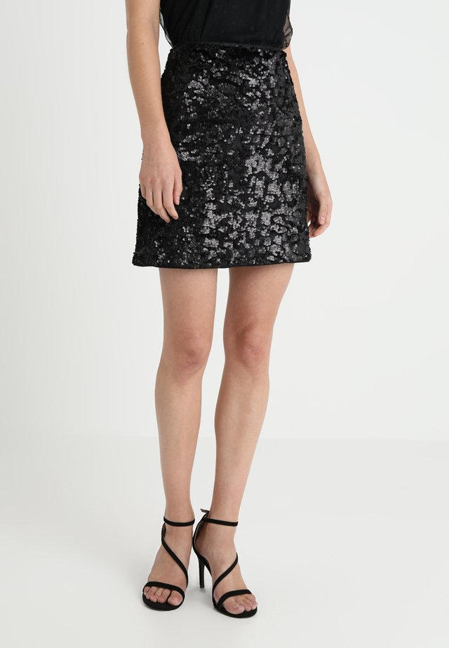 SEQUINS - Mini skirt - black