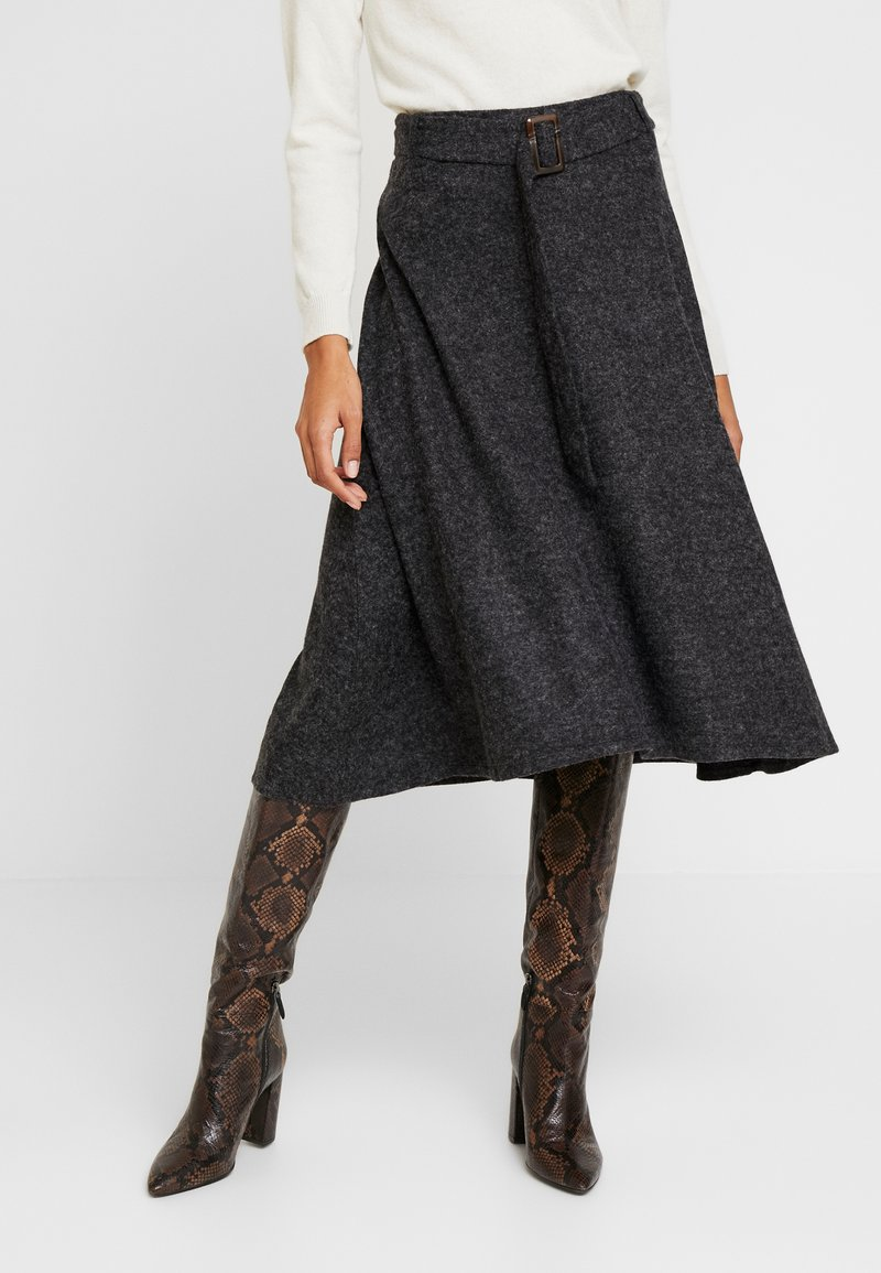 Esprit Collection - SKIRT - A-snit nederdel/ A-formede nederdele - gunmetal