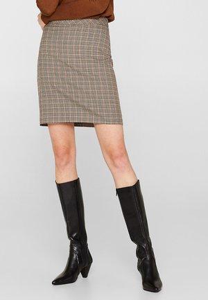 MIT MINI-KARO - A-line skirt - camel
