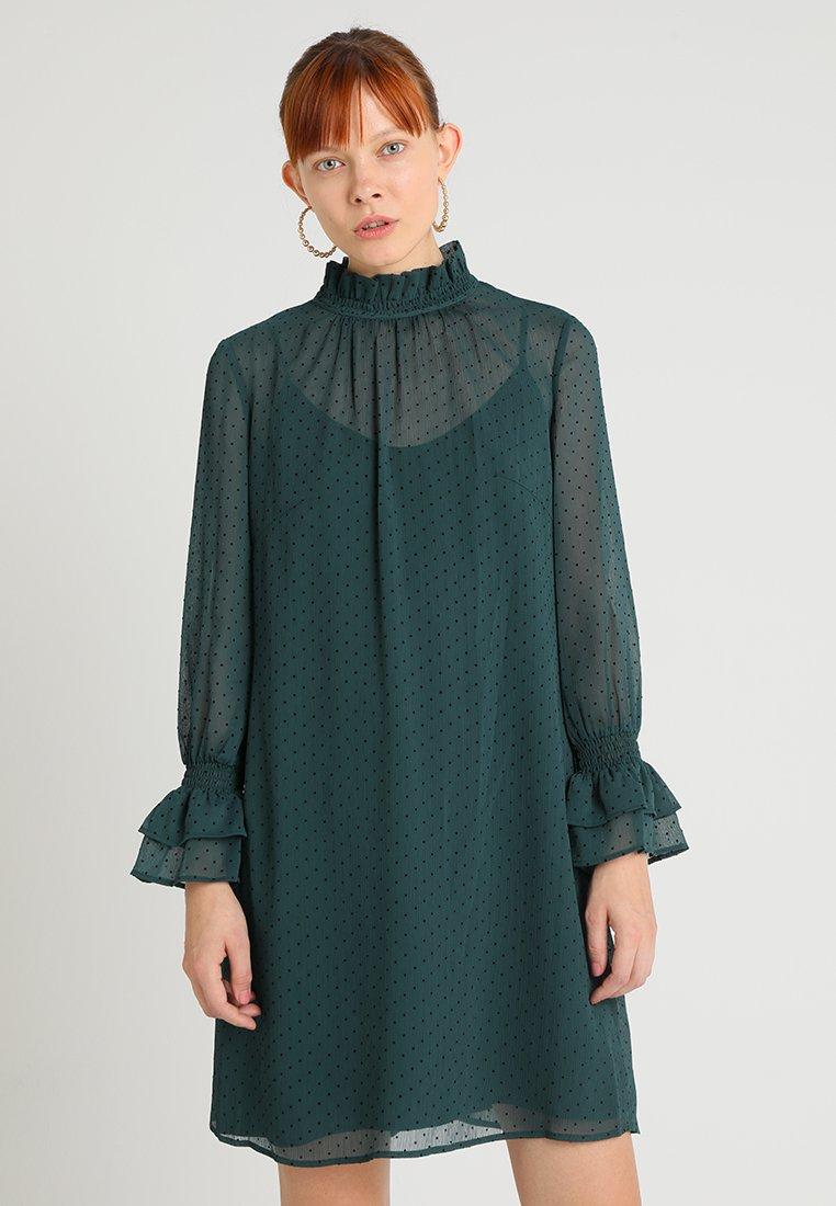 Esprit Collection - FLOCKED DOT - Vestito estivo - bottle green
