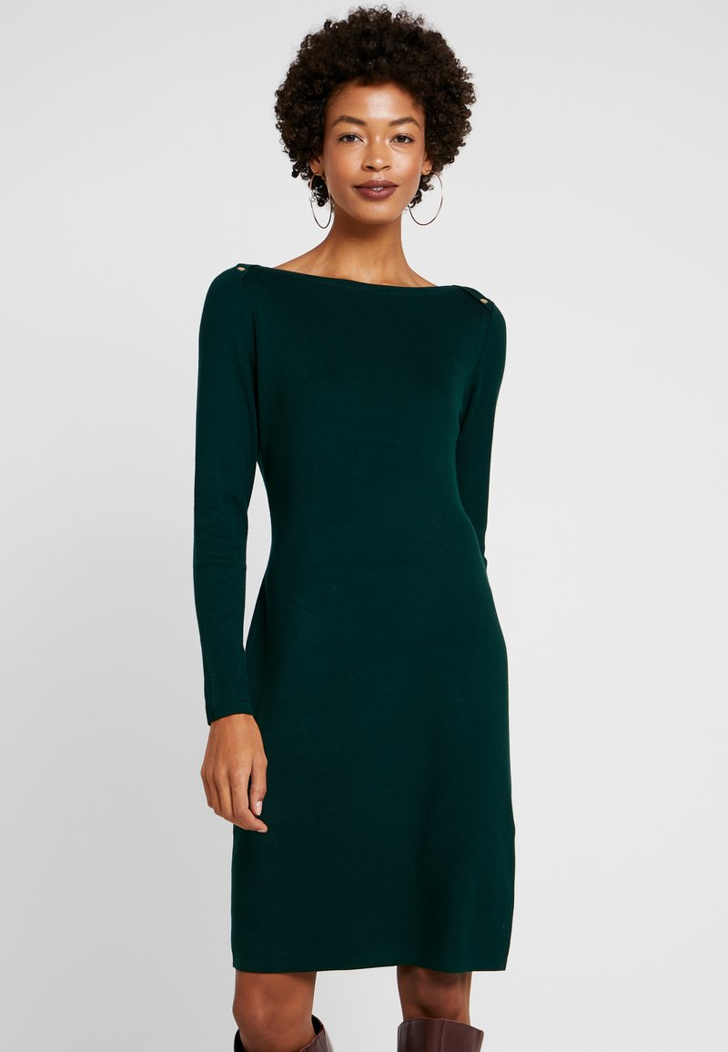 Esprit Collection - FITTED BUTTON - Strickkleid - bottle green
