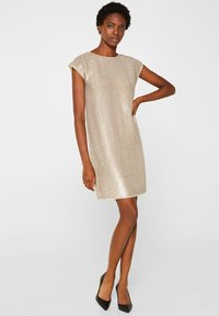 Esprit Collection - MIT PAILLETTEN - Cocktail dress / Party dress - cream beige - 1