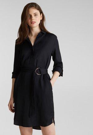 CV/LINEN MIX - Shirt dress - black