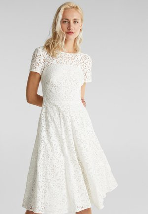 SPITZEN-KLEID MIT SCHWINGENDEM ROCK - Cocktail dress / Party dress - white