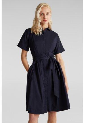 HEMDBLUSEN-KLEID MIT SEIDENGLANZ - Shirt dress - navy