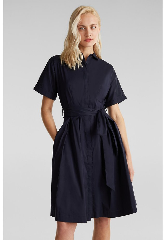 HEMDBLUSEN-KLEID MIT SEIDENGLANZ - Shirt dress - navy