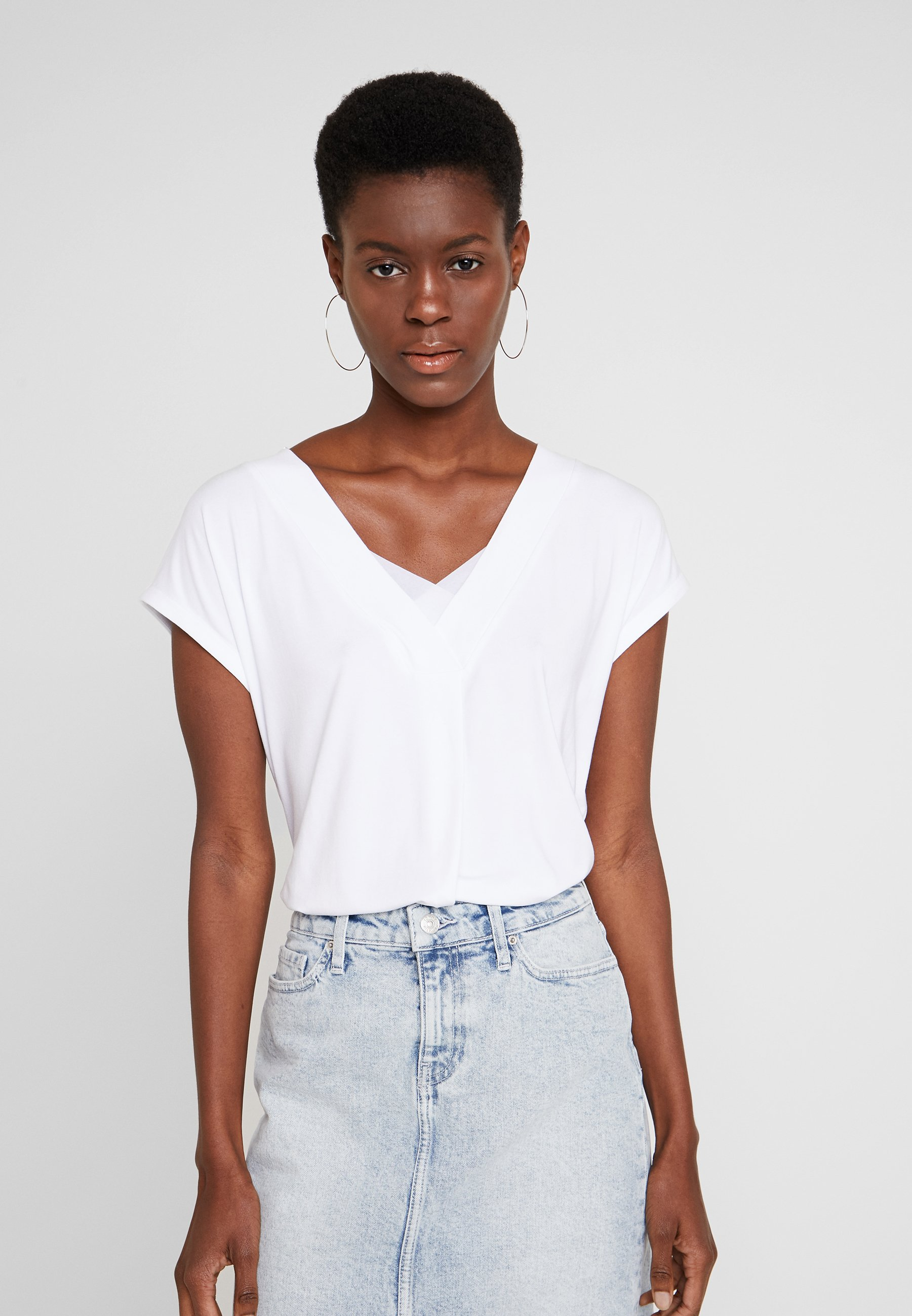 Insert Esprit White Collection TeeT shirt Neck Imprimé bf67Yyg