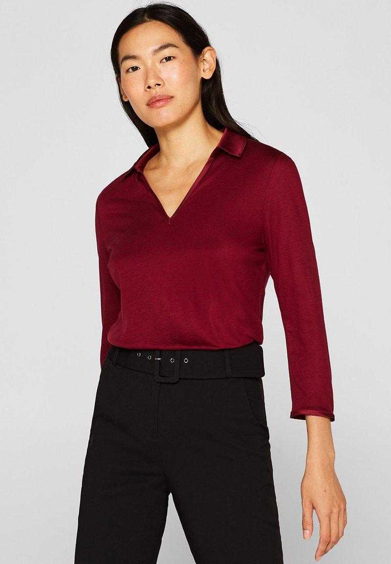 Esprit Collection - MIT SATIN-KRAGEN - Langarmshirt - garnet red
