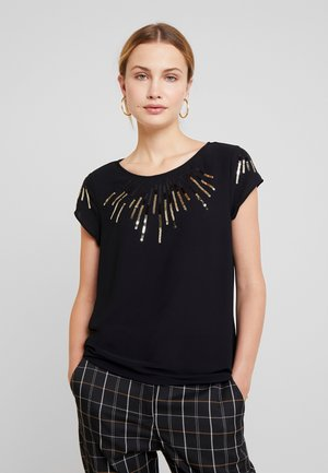 FLOCK TEE - T-shirts med print - black