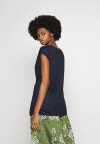Esprit Collection - DRAPY NECK T - T-shirts - navy - 2