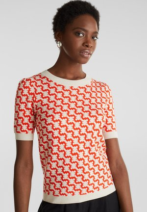 KURZARM-PULLOVER MIT JACQUARD-MUSTER - T-shirt med print - red orange