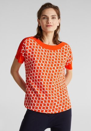 BLUSENTOP AUS MATERIAL-MIX - Print T-shirt - red orange