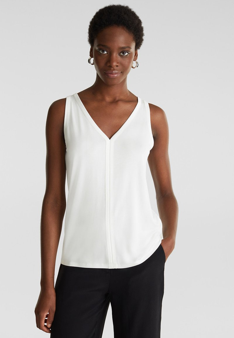Esprit Collection - MIT SATIN-DETAILS - Top - off white