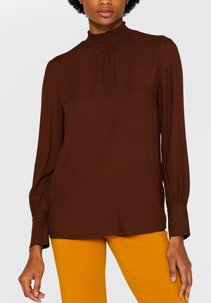 SMOCK NECK - Blouse - dark brown