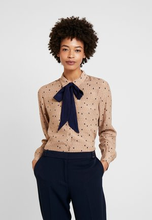 COLLAR BOW - Button-down blouse - camel