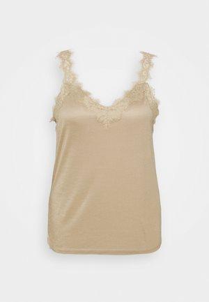 FLOW VNECK - Top - khaki beige