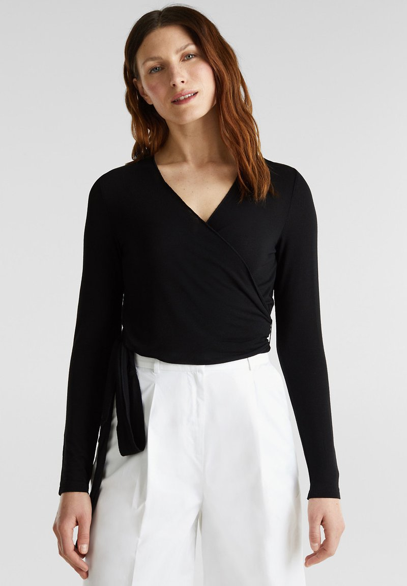 Esprit Collection - IN WICKEL-OPTIK - Long sleeved top - black