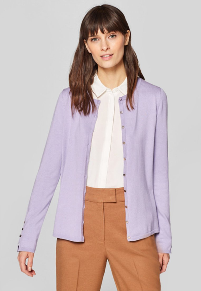 Esprit Collection - BUTTON CARDI - Strickjacke - purple
