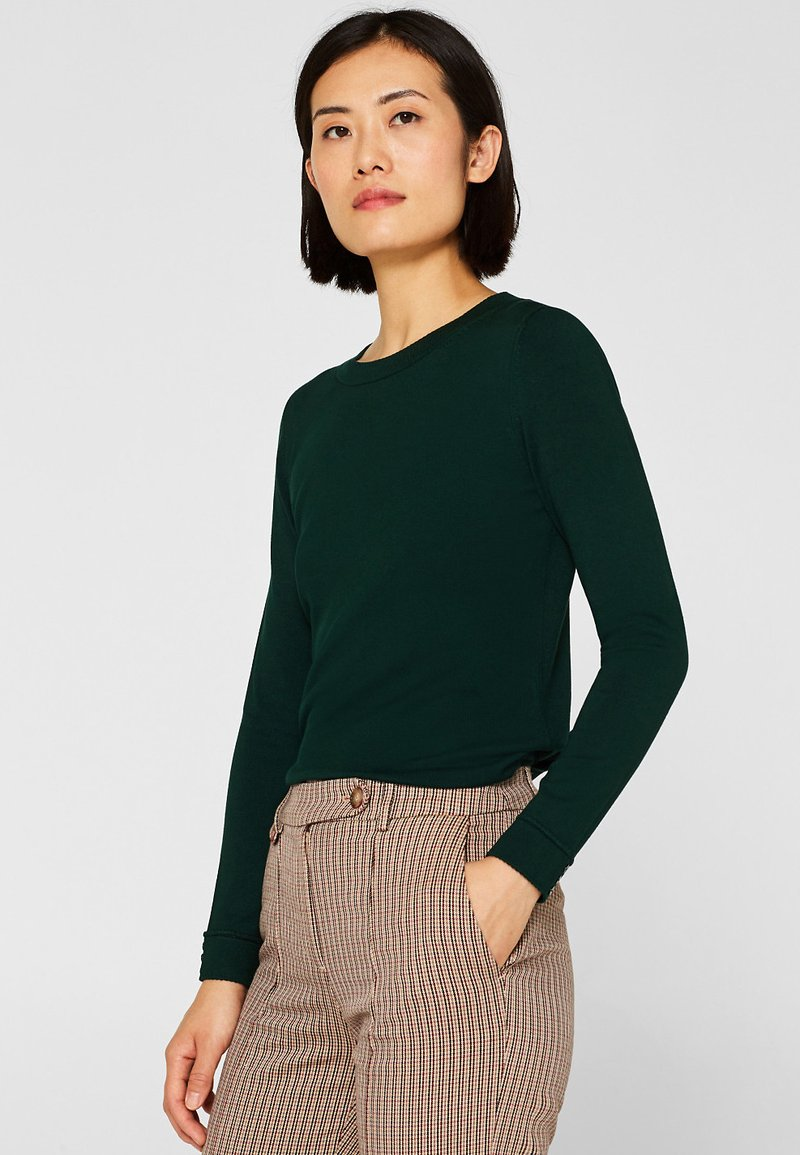 Esprit Collection - MIT LENZING™ ECOVERO™ - Pullover - bottle green