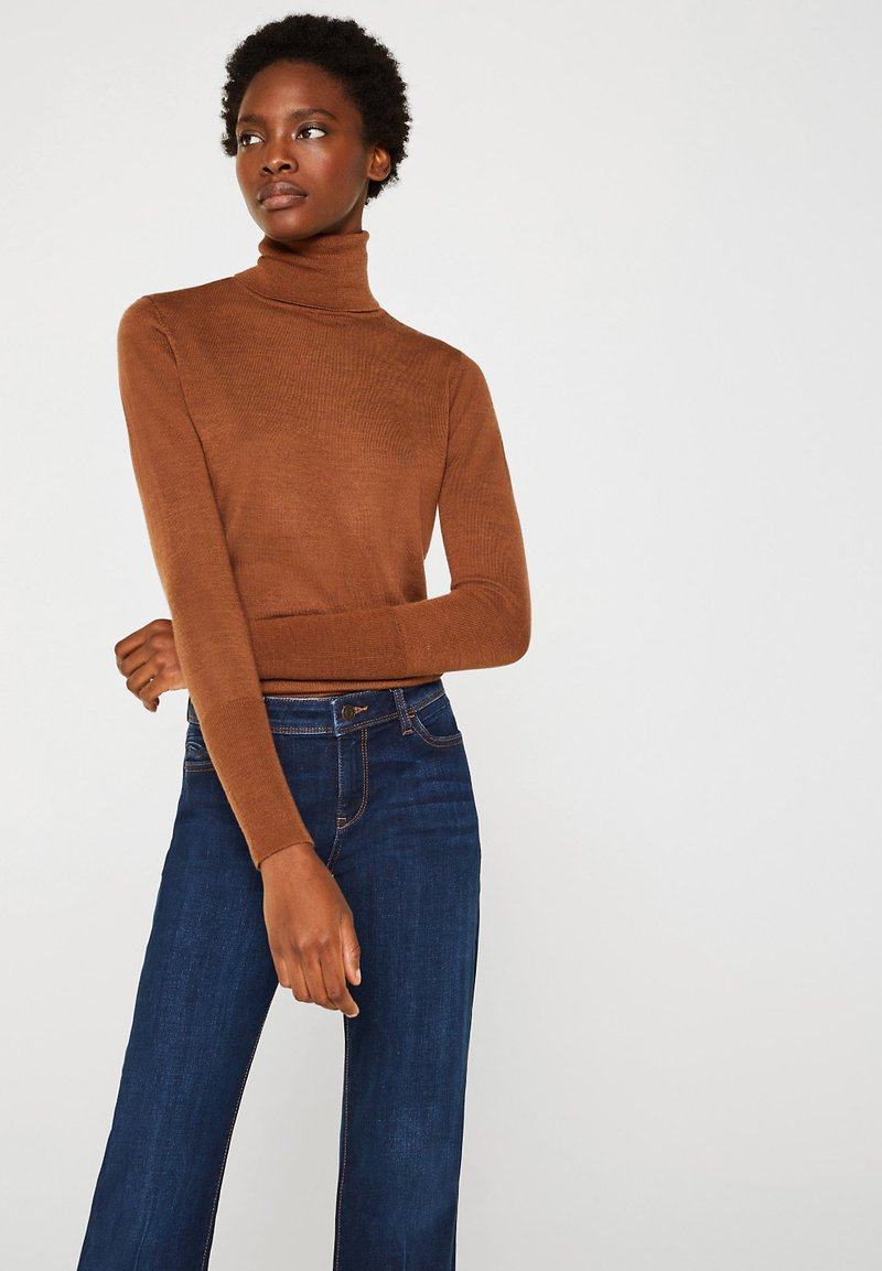 Esprit Collection - SKIN ROLL - Stickad tröja - light brown