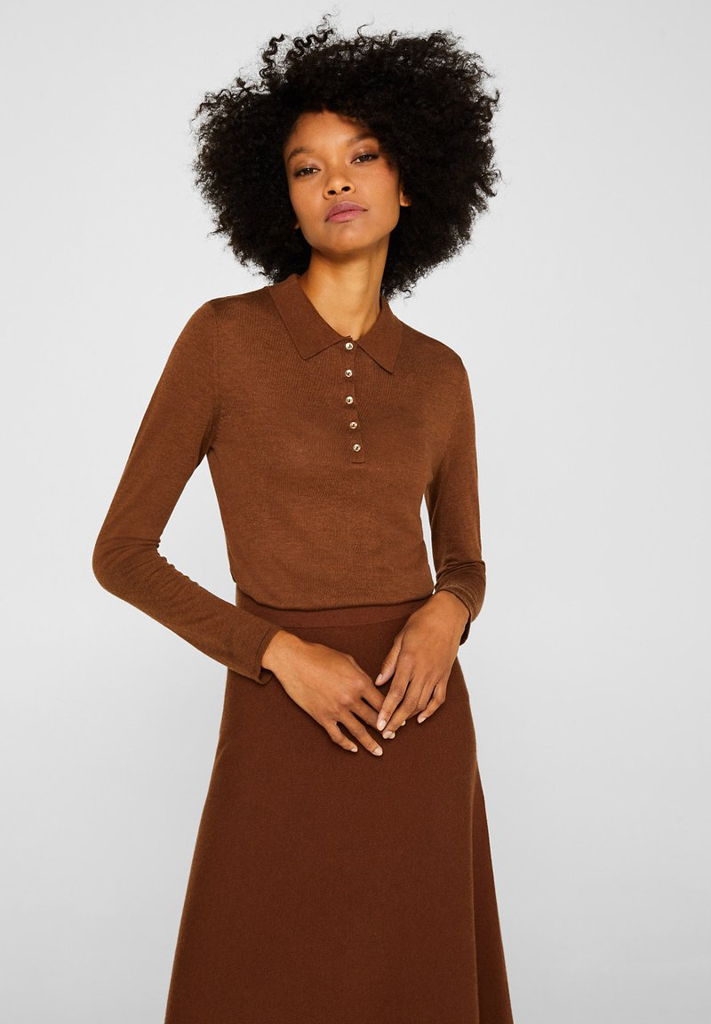 Esprit Collection - MIT KASCHMIR-TOUCH - Polo shirt - toffee