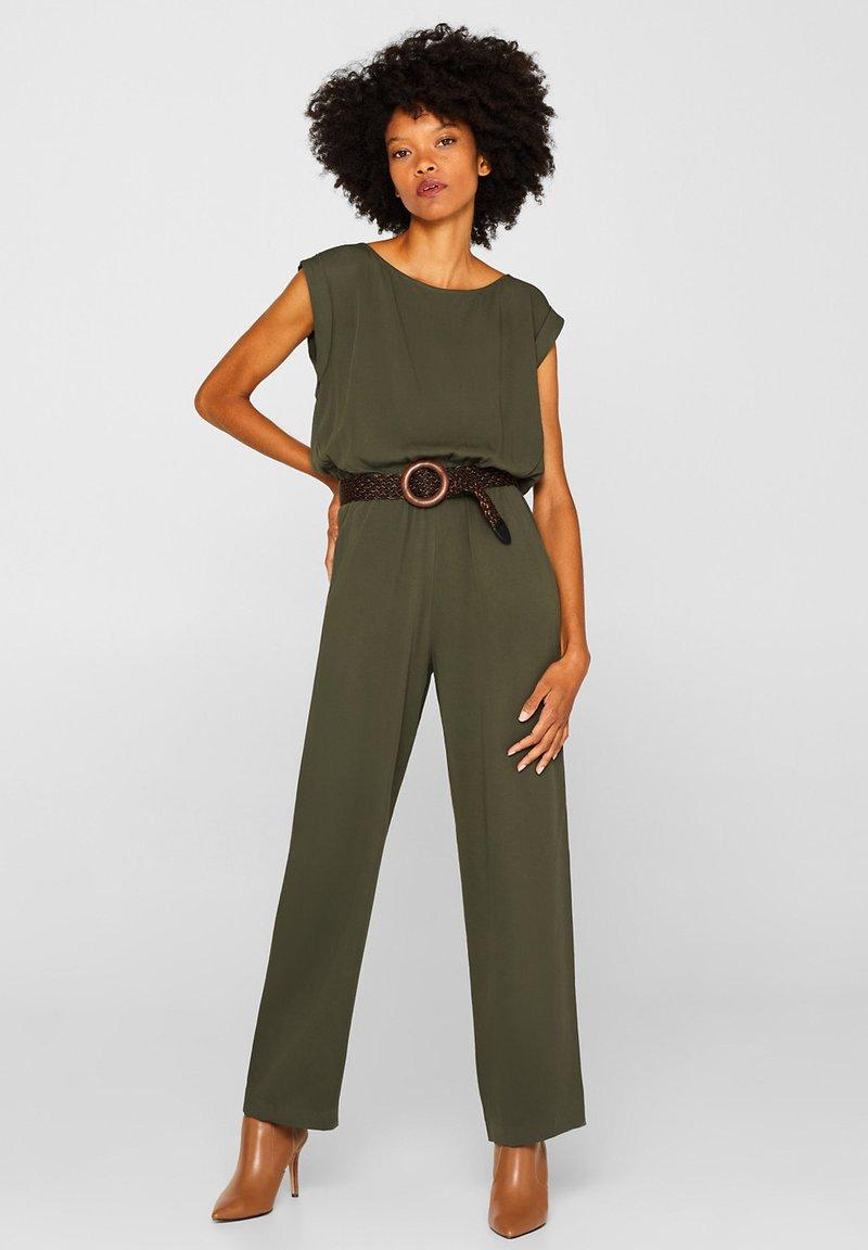 Esprit Collection - MIT FLECHTGÜRTEL - Jumpsuit - khaki green