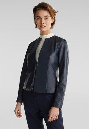 LEATHER JACKET - Leather jacket - navy